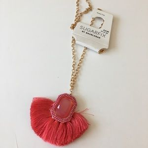 Sugarfix by BaubleBar Coral Tassel Gem Necklace